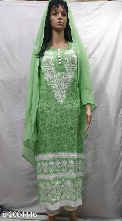 Kurtis & Kurtas Attractive Georgette Kurti  *Fabric* Kurti - Georgette,Dupatta - Georgette  *Sleeves* Kurti - Sleeves Are Included  *Sizes* Kurti  *Length* Kurti - Up To 48 in             *Type* Stitched  *Description* It Has 1 Piece Of Kurti & 1 Piece Of Dupatta  *Work* Kurti - Embroidery, Dupatta - Solid  *Sizes Available* S, M, L, XL, XXL, XXXL   Supplier Rating: ★4 (172) SKU: 025853 Shipping charges: Rs1 (Non-refundable) Pkt. Weight Range: 500  Catalog Name: Alisha Attractive Georgette Kurtis Vol 7#Re1shipping - Pooja Handicrafts- Code: 3121-2004446--1721