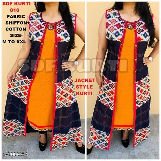 Kurtis & Kurtas JACKET STYLE KURTI  *Fabric* Chiffon & Cotton    *Sleeves* Sleeves Are Included  *Size* M - 40 in, L - 42 in, XL - 44 in, XXL - 46 in    *Length* Up To 50 in  *Type* Stitched  *Description* It Has 1 Piece Of Jacket Style Kurti  *Work* Printed  *Sizes Available* XL, XXL   Catalog Rating: ★4.5 (4) Supplier Rating: ★4.2 (1791) SKU: SDF_810 Free shipping is available for this item. Pkt. Weight Range: 300  Catalog Name: Lisika Attractive Kurtis Vol 1 - SDF kurtis Code: 0241-2009354--