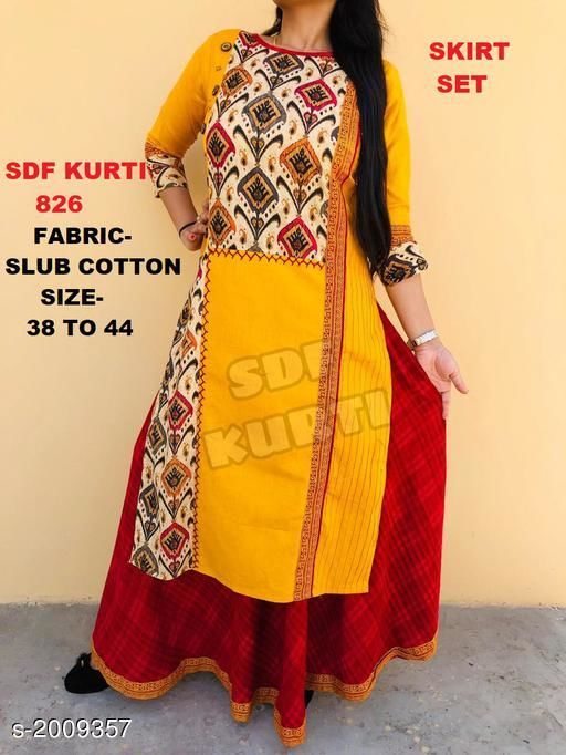 Kurtis & Kurtas SKIRT SET  *Fabric* Kurti - Cotton Slub, Skirt - Cotton Slub    *Sleeves* Sleeves Are Included  *Size* Kurti -  S - 38 in, M - 40 in, L - 42 in, XL - 44 in, Skirt - S- 30 in, M - 32 in, L  - 34 in. XL - 36 in    *Length* Kurti - Up To 44 in, Skirt - Up To 40 in  *Type* Stitched  *Description* It Has 1 Piece Of Kurti With Skirt  *Work* Kurti - Printed, Skirt- Printed  *Sizes Available* XL   Supplier Rating: ★4.2 (1536) SKU: SDF_826 Free shipping is available for this item. Pkt. Weight Range: 300  Catalog Name: Lisika Attractive Kurtis Vol 1 - SDF kurtis Code: 0241-2009357--