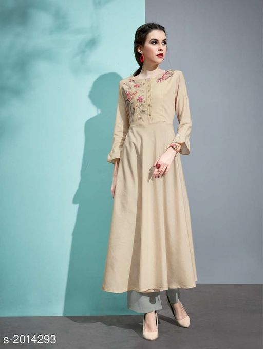 Kurta Sets Designer Pure Cotton Silk Kurta Set  *Fabric* Kurti - Pure Cotton Silk, Inner - Cotton, Palazzo - Pure Cotton Silk  *Sleeves* 3/4 Sleeves Are Included  *Size* Kurti - M - 38 in, L - 40 in, XL - 42 in, Palazzo - M - 30 in, L - 32 in, XL - 34 in  *Length* Kurti - Up To 45 in, Palazzo - Up To 40 in  *Type* Stitched  *Description* It Has 1 Piece Of Kurti with 1 Piece Of Palazzo  *Work* Kurti - Embroidery, Palazzo  *Sizes Available* L, XL   Catalog Rating: ★3.5 (19) Supplier Rating: ★3.6 (33) SKU: 5 Free shipping is available for this item. Pkt. Weight Range: 500  Catalog Name: Vaarahi Designer Pure Cotton Silk Kurta Sets Vol 1 - JV_DESIGNER Code: 509-2014293--