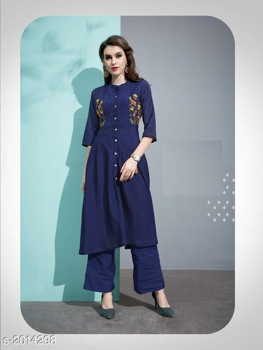 Kurta Sets Designer Pure Cotton Silk Kurta Set  *Fabric* Kurti - Pure Cotton Silk, Inner - Cotton, Palazzo - Pure Cotton Silk  *Sleeves* 3/4 Sleeves Are Included  *Size* Kurti - M - 38 in, L - 40 in, XL - 42 in, Palazzo - M - 30 in, L - 32 in, XL - 34 in  *Length* Kurti - Up To 45 in, Palazzo - Up To 40 in  *Type* Stitched  *Description* It Has 1 Piece Of Kurti with 1 Piece Of Palazzo  *Work* Kurti - Embroidery, Palazzo  *Sizes Available* M, L, XL   Catalog Rating: ★3.5 (19) Supplier Rating: ★3.6 (33) SKU: 7 Free shipping is available for this item. Pkt. Weight Range: 500  Catalog Name: Vaarahi Designer Pure Cotton Silk Kurta Sets Vol 1 - JV_DESIGNER Code: 509-2014298--
