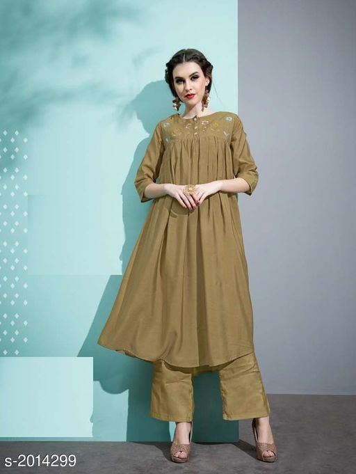 Kurta Sets Designer Pure Cotton Silk Kurta Set  *Fabric* Kurti - Pure Cotton Silk, Inner - Cotton, Palazzo - Pure Cotton Silk  *Sleeves* 3/4 Sleeves Are Included  *Size* Kurti - M - 38 in, L - 40 in, XL - 42 in, Palazzo - M - 30 in, L - 32 in, XL - 34 in  *Length* Kurti - Up To 45 in, Palazzo - Up To 40 in  *Type* Stitched  *Description* It Has 1 Piece Of Kurti with 1 Piece Of Palazzo  *Work* Kurti - Embroidery, Palazzo  *Sizes Available* M, L, XL   Catalog Rating: ★3.5 (19) Supplier Rating: ★3.6 (33) SKU: 8 Free shipping is available for this item. Pkt. Weight Range: 500  Catalog Name: Vaarahi Designer Pure Cotton Silk Kurta Sets Vol 1 - JV_DESIGNER Code: 509-2014299--