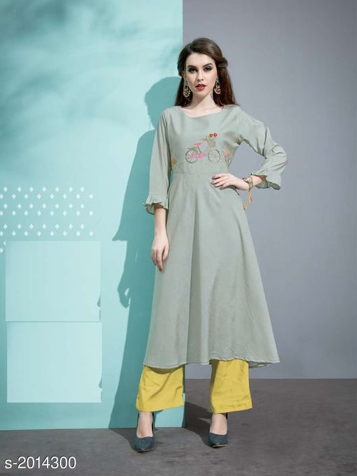 Kurta Sets Designer Pure Cotton Silk Kurta Set  *Fabric* Kurti - Pure Cotton Silk, Inner - Cotton, Palazzo - Pure Cotton Silk  *Sleeves* 3/4 Sleeves Are Included  *Size* Kurti - M - 38 in, L - 40 in, XL - 42 in, Palazzo - M - 30 in, L - 32 in, XL - 34 in  *Length* Kurti - Up To 45 in, Palazzo - Up To 40 in  *Type* Stitched  *Description* It Has 1 Piece Of Kurti with 1 Piece Of Palazzo  *Work* Kurti - Embroidery, Palazzo  *Sizes Available* M, L, XL   Catalog Rating: ★3.5 (19) Supplier Rating: ★3.6 (33) SKU: 10 Free shipping is available for this item. Pkt. Weight Range: 500  Catalog Name: Vaarahi Designer Pure Cotton Silk Kurta Sets Vol 1 - JV_DESIGNER Code: 509-2014300--