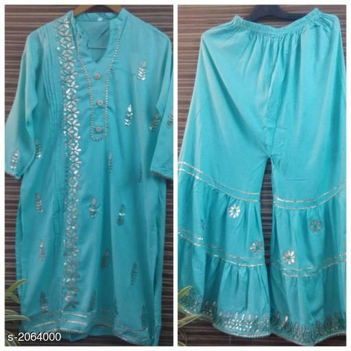 Kurtis & Kurtas  Casual Kurti Skirt Set   *Fabric* Kurti – Rayon   , Skirt- Rayon  *Sleeves* Kurti - 3/4th Sleeves Are Included  *Size* Kurti- M- 38 in,L - 40 in, XL - 42 in,Skirt - M- 30 in,L - 32 in, XL - 34 in  *Length* Kurti - Up To 46 in, Skirt - Up To 39 in  *Type* Stitched  *Description* It Has 1 Piece Of Kurti &1 Piece Of Skirt  *Work* Gotta Patti  *Sizes Available* XL   Supplier Rating: ★3.9 (341) SKU: sk28 Free shipping is available for this item. Pkt. Weight Range: 500  Catalog Name: Eva Casual  Kurti Skirt Set   - FBK Styles Code: 969-2064000--