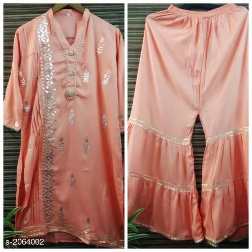 Kurtis & Kurtas  Casual Kurti Skirt Set   *Fabric* Kurti – Rayon   , Skirt- Rayon  *Sleeves* Kurti - 3/4th Sleeves Are Included  *Size* Kurti- M- 38 in,L - 40 in, XL - 42 in,Skirt - M- 30 in,L - 32 in, XL - 34 in  *Length* Kurti - Up To 46 in, Skirt - Up To 39 in  *Type* Stitched  *Description* It Has 1 Piece Of Kurti &1 Piece Of Skirt  *Work* Gotta Patti  *Sizes Available* XL, XXL   Supplier Rating: ★3.9 (341) SKU: sk29 Free shipping is available for this item. Pkt. Weight Range: 500  Catalog Name: Eva Casual  Kurti Skirt Set   - FBK Styles Code: 969-2064002--
