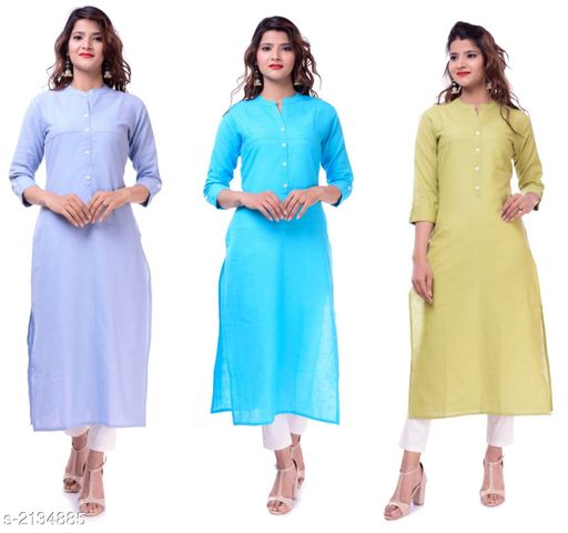 Kurtis & Kurtas Casual Slub Cotton Women's Kurti (Pack Of 3)  *Fabric* Kurti 1 - Slub Cotton, Kurti 2 - Slub Cotton, Kurti 3 - Slub Cotton  *Sleeves* Sleeves Are Included  *Size* M - 38 in, L - 40 in, XL - 42 in, XXL - 44 in  *Type* Stitched  *Length* Up To 46 in  *Description* It Has 3 Pieces Of Women's Kurtis  *Pattern* Solid  *Sizes Available* M, L, XL, XXL   Supplier Rating: ★3.9 (23) SKU: EP-61-60-62 Free shipping is available for this item. Pkt. Weight Range: 700  Catalog Name: Elanah Casual Slub Cotton Women's Kurtis Combo Vol 11 - EP Sharma FAB Code: 979-2134885--