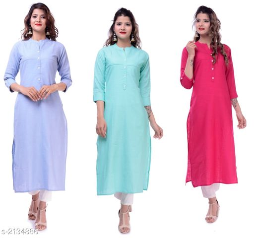 Kurtis & Kurtas Casual Slub Cotton Women's Kurti (Pack Of 3)  *Fabric* Kurti 1 - Slub Cotton, Kurti 2 - Slub Cotton, Kurti 3 - Slub Cotton  *Sleeves* Sleeves Are Included  *Size* M - 38 in, L - 40 in, XL - 42 in, XXL - 44 in  *Type* Stitched  *Length* Up To 46 in  *Description* It Has 3 Pieces Of Women's Kurtis  *Pattern* Solid  *Sizes Available* M, L, XL, XXL   Supplier Rating: ★3.9 (23) SKU: EP-61-63-64 Free shipping is available for this item. Pkt. Weight Range: 700  Catalog Name: Elanah Casual Slub Cotton Women's Kurtis Combo Vol 11 - EP Sharma FAB Code: 979-2134886--