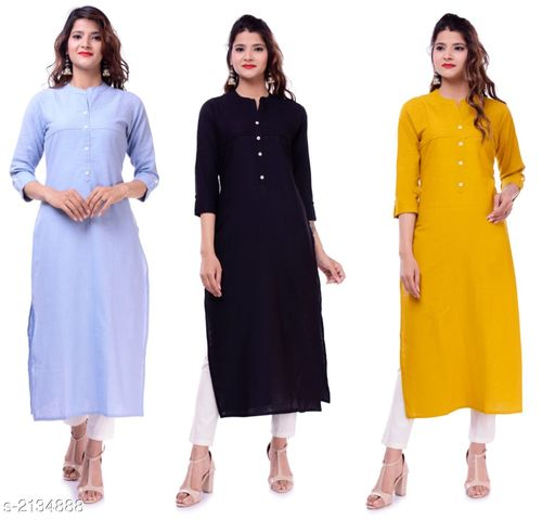 Kurtis & Kurtas Casual Slub Cotton Women's Kurti (Pack Of 3)  *Fabric* Kurti 1 - Slub Cotton, Kurti 2 - Slub Cotton, Kurti 3 - Slub Cotton  *Sleeves* Sleeves Are Included  *Size* M - 38 in, L - 40 in, XL - 42 in, XXL - 44 in  *Type* Stitched  *Length* Up To 46 in  *Description* It Has 3 Pieces Of Women's Kurtis  *Pattern* Solid  *Sizes Available* M, L, XL, XXL   Supplier Rating: ★3.9 (23) SKU: EP-61-67-68 Free shipping is available for this item. Pkt. Weight Range: 700  Catalog Name: Elanah Casual Slub Cotton Women's Kurtis Combo Vol 11 - EP Sharma FAB Code: 979-2134888--