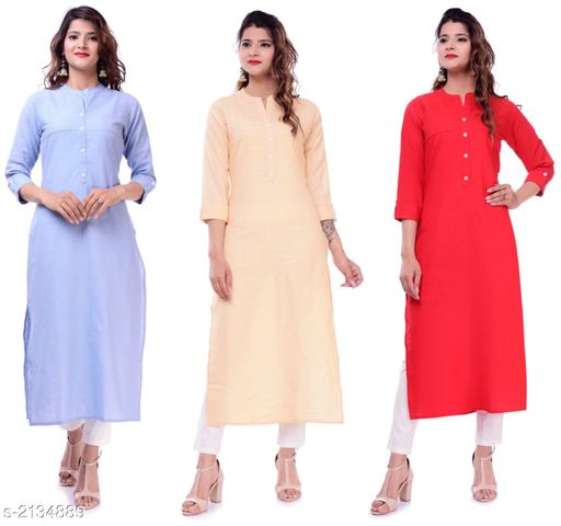 Kurtis & Kurtas Casual Slub Cotton Women's Kurti (Pack Of 3)  *Fabric* Kurti 1 - Slub Cotton, Kurti 2 - Slub Cotton, Kurti 3 - Slub Cotton  *Sleeves* Sleeves Are Included  *Size* M - 38 in, L - 40 in, XL - 42 in, XXL - 44 in  *Type* Stitched  *Length* Up To 46 in  *Description* It Has 3 Pieces Of Women's Kurtis  *Pattern* Solid  *Sizes Available* M, L, XL, XXL   Supplier Rating: ★3.9 (23) SKU: EP-61-69-70 Free shipping is available for this item. Pkt. Weight Range: 700  Catalog Name: Elanah Casual Slub Cotton Women's Kurtis Combo Vol 11 - EP Sharma FAB Code: 979-2134889--