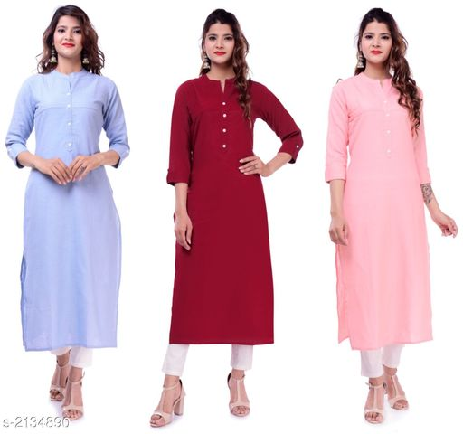 Kurtis & Kurtas Casual Slub Cotton Women's Kurti (Pack Of 3)  *Fabric* Kurti 1 - Slub Cotton, Kurti 2 - Slub Cotton, Kurti 3 - Slub Cotton  *Sleeves* Sleeves Are Included  *Size* M - 38 in, L - 40 in, XL - 42 in, XXL - 44 in  *Type* Stitched  *Length* Up To 46 in  *Description* It Has 3 Pieces Of Women's Kurtis  *Pattern* Solid  *Sizes Available* M, L, XL, XXL   Supplier Rating: ★3.9 (23) SKU: EP-61-71-72 Free shipping is available for this item. Pkt. Weight Range: 700  Catalog Name: Elanah Casual Slub Cotton Women's Kurtis Combo Vol 11 - EP Sharma FAB Code: 979-2134890--