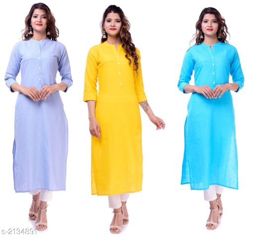 Kurtis & Kurtas Casual Slub Cotton Women's Kurti (Pack Of 3)  *Fabric* Kurti 1 - Slub Cotton, Kurti 2 - Slub Cotton, Kurti 3 - Slub Cotton  *Sleeves* Sleeves Are Included  *Size* M - 38 in, L - 40 in, XL - 42 in, XXL - 44 in  *Type* Stitched  *Length* Up To 46 in  *Description* It Has 3 Pieces Of Women's Kurtis  *Pattern* Solid  *Sizes Available* M, L, XL, XXL   Supplier Rating: ★3.9 (23) SKU: EP-61-73-60 Free shipping is available for this item. Pkt. Weight Range: 700  Catalog Name: Elanah Casual Slub Cotton Women's Kurtis Combo Vol 11 - EP Sharma FAB Code: 979-2134891--