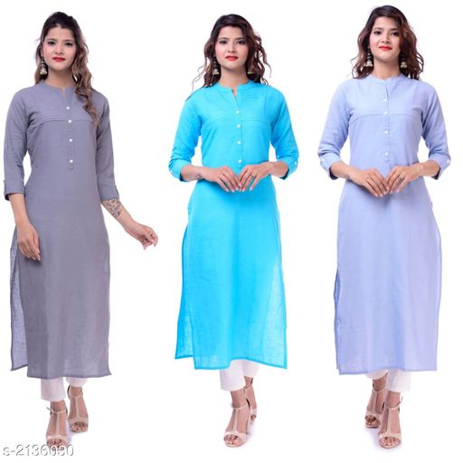 Kurtis & Kurtas Casual Slub Cotton Women's Kurti (Pack Of 3)  *Fabric* Kurti 1 - Slub Cotton, Kurti 2 - Slub Cotton, Kurti 3 - Slub Cotton  *Sleeves* Sleeves Are Included  *Size* M - 38 in, L - 40 in, XL - 42 in, XXL - 44 in  *Type* Stitched  *Length* Up To 46 in  *Description* It Has 3 Pieces Of Women's Kurtis  *Pattern* Solid  *Sizes Available* M, L, XL, XXL   Supplier Rating: ★3.9 (23) SKU: EP-65-60-61 Free shipping is available for this item. Pkt. Weight Range: 700  Catalog Name: Elanah Casual Slub Cotton Women's Kurtis Combo Vol 12 - EP Sharma FAB Code: 979-2136030--