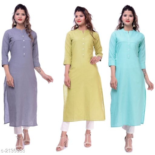 Kurtis & Kurtas Casual Slub Cotton Women's Kurti (Pack Of 3)  *Fabric* Kurti 1 - Slub Cotton, Kurti 2 - Slub Cotton, Kurti 3 - Slub Cotton  *Sleeves* Sleeves Are Included  *Size* M - 38 in, L - 40 in, XL - 42 in, XXL - 44 in  *Type* Stitched  *Length* Up To 46 in  *Description* It Has 3 Pieces Of Women's Kurtis  *Pattern* Solid  *Sizes Available* M, L, XL, XXL   Supplier Rating: ★3.9 (23) SKU: EP-65-62-63 Free shipping is available for this item. Pkt. Weight Range: 700  Catalog Name: Elanah Casual Slub Cotton Women's Kurtis Combo Vol 12 - EP Sharma FAB Code: 979-2136033--