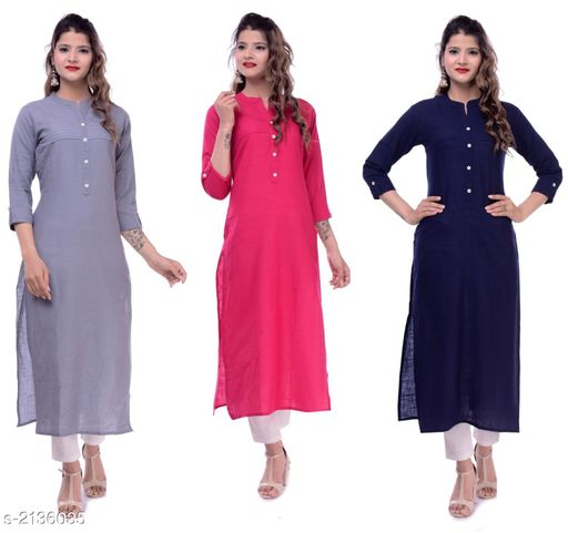 Kurtis & Kurtas Casual Slub Cotton Women's Kurti (Pack Of 3)  *Fabric* Kurti 1 - Slub Cotton, Kurti 2 - Slub Cotton, Kurti 3 - Slub Cotton  *Sleeves* Sleeves Are Included  *Size* M - 38 in, L - 40 in, XL - 42 in, XXL - 44 in  *Type* Stitched  *Length* Up To 46 in  *Description* It Has 3 Pieces Of Women's Kurtis  *Pattern* Solid  *Sizes Available* M, L, XL, XXL   Supplier Rating: ★3.9 (23) SKU: EP-65-64-66 Free shipping is available for this item. Pkt. Weight Range: 700  Catalog Name: Elanah Casual Slub Cotton Women's Kurtis Combo Vol 12 - EP Sharma FAB Code: 979-2136035--