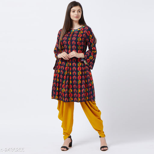 Kurta Sets Stylish Women's Kurta Sets  *Fabric* Kurti - Rayon, Dhoti - Rayon.  *Sleeves* Sleeves Are Included  *Size * Kurti - S - 36 in, M - 38 in, L - 40 in. Dhoti - S - 28, M - 30 in, L - 32 in.  *Length* Kurti - Up To 40 in, Dhoti - Up To 40 in  *Type* Stitched  *Colour* Kurti - Multi Colour, Dhoti - Yellow  *Description* It Has 1 Piece Of Kurti, 1 Piece Of Dhoti  *Work / Pattern* Kurta - Printed, Dhoti - Solid,  *Sizes Available* S, M, L   SKU: JAI-KUR-21081 Free shipping is available for this item. Pkt. Weight Range: 500  Catalog Name: Alisha Stylish Women's Kurta Sets Vol 7 - Peach mode Code: 9631-2436255--