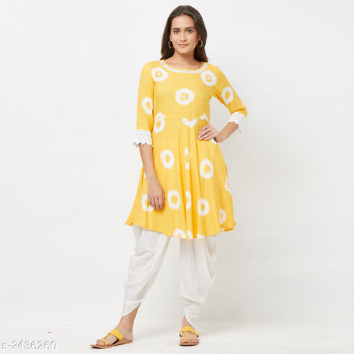 Kurta Sets Stylish Women's Kurta Sets  *Fabric* Kurti - Rayon, Dhoti - Rayon.  *Sleeves* Sleeves Are Included  *Size * Kurti - S - 36 in, M - 38 in, L - 40 in. Dhoti - S - 28, M - 30 in, L - 32 in.  *Length* Kurti - Up To 40 in, Dhoti - Up To 40 in  *Type* Stitched  *Colour* Kurti - Yellow, Dhoti - White  *Description* It Has 1 Piece Of Kurti, 1 Piece Of Dhoti  *Work / Pattern* Kurta - Printed, Dhoti - Solid,  *Sizes Available* S, M, L   SKU: JAI-KUR-21097 Free shipping is available for this item. Pkt. Weight Range: 500  Catalog Name: Alisha Stylish Women's Kurta Sets Vol 7 - Peach mode Code: 9631-2436260--