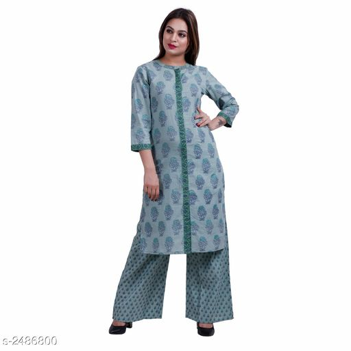 Kurta Sets Contemporary Cotton Printed Kurta Set  *Fabric* Kurti - Cotton, Palazzo - Cotton  *Sleeves* Sleeves Are Included  *Size* Kurti - S - 36 in, M - 38 in, L - 40 in, XL - 42 in, XXL - 44 in, Palazzo - S - 28 in, M - 30 in, L - 32 in, XL - 34 in, XXL - 36 in  *Length* Kurti - Up To 46 in, Palazzo - Up To 39 in  *Type* Stitched  *Description* It Has 1 Piece Of Kurti With 1 Piece Of Palazzo  *Work / Pattern* Kurti - Printed, Palazzo - Solid  *Sizes Available* S, M, L, XL, XXL   Supplier Rating: ★4.2 (23) SKU: 5 Free shipping is available for this item. Pkt. Weight Range: 500  Catalog Name: Arianna Contemporary Cotton Printed Kurta Sets - Aksi Code: 967-2486800--
