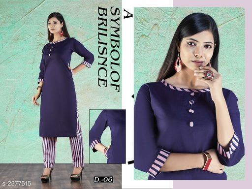 Kurta Sets Adorable Women's Kurta set  *Fabric* Kurti - Cotton Slub , Pant  -  Linen Cotton  *Sleeves* 3/4 Sleeves Are Included  *Size* Kurti - L - 40 in , XXL - 44 in , Pant - L - Up To 30 in To 32 in , XXL - Up To 34 in To 36 in  *Length* Kurti - Up To 45 in , Pant - 40 in  *Type* Stitched  *Description* It Has 1 Piece Of Kurti With 1 Piece Of Pant  *Work* Kurti - Solid , Pant Pant - Striped  *Sizes Available* L, XXL   Supplier Rating: ★4 (69) SKU: Neavy Blue Top With Stripe Pant Free shipping is available for this item. Pkt. Weight Range: 500  Catalog Name: Samaira Adorable Women's Kurta Sets - k_line Code: 566-2577515--