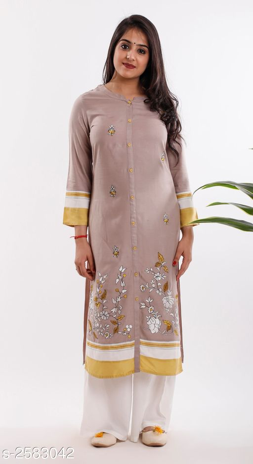 Kurtis & Kurtas Elite Stylish Cotton Women's Kurti With Palazzo  *Fabric* Kurti - Cotton, Palazzo - Cotton  *Sleeves* Sleeves Are Included  *Size* Kurti - M - 36 in, L - 38 in, XL - 40 in, XXL - 42 in, 3XL - 44 in  Palazzo - M - 28 in, L - 30 in, XL - 32 in, XXL - 34 in, 3XL - 36 in  *Length Size* Kurti - Up To 42 in, Palazzo - Up To 40 in  *Type* Stitched  *Description* It Has 1 Piece Of Women's Kurti, 1 Piece of Palazzo  *Work* Kurti - Printed, Palazzo - Plain  *Sizes Available* L, XL, XXL, XXXL   Supplier Rating: ★4.1 (2402) SKU: M130 Free shipping is available for this item. Pkt. Weight Range: 350  Catalog Name: Elite Stylish Cotton Women's Kurti With Palazzo Vol 1 - Khhalisi Code: 9671-2583042--