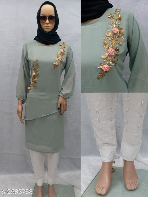 Kurta Sets Stylish Georgette Women's Kurta Set  *Fabric* Kurti - Georgette, Bottom - Rayon, Inner - Santoon  *Sleeves* Sleeves Are Included  *Size* Kurti - L - 40 in , XL - 42 in , XXL - 44 in , Bottom  *Length* Kurti - Up To 42 in To 44 in, Bottom -  Up To 40 in  *Type* Stitched  *Description* It Has 1 Piece Of Women's Kurti With 1 Piece Of Bottom  *Work * Kurti - Pearl Work , Bottom - Pearl Work  *Sizes Available* L, XL, XXL   Supplier Rating: ★4 (16778) SKU: SGWK_2 Free shipping is available for this item. Pkt. Weight Range: 700  Catalog Name: Diva Stylish Georgette Women's Kurta Sets Vol 2 - SS Fashion Code: 0511-2583768--
