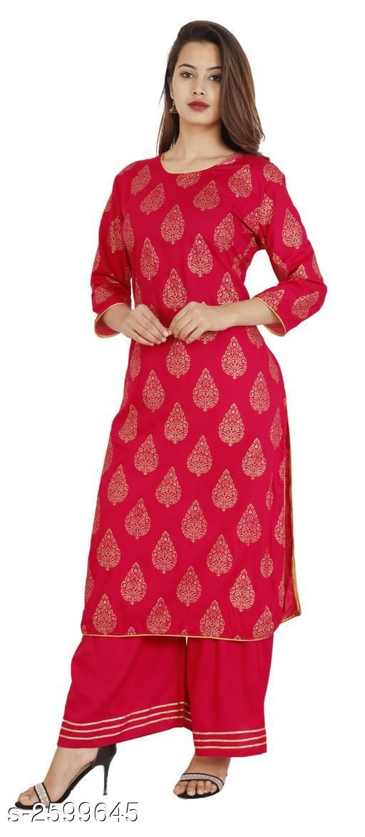 Kurtis & Kurtas  Ravishing Cotton & Rayon Women's Kurta Palazzo Set  *Fabric* Kurti - Rayon, Palazzo - Rayon 