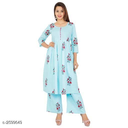 Kurtis & Kurtas  Ravishing Cotton & Rayon Women's Kurta Palazzo Set  *Fabric* Kurti - Cotton , Palazzo - Cotton 