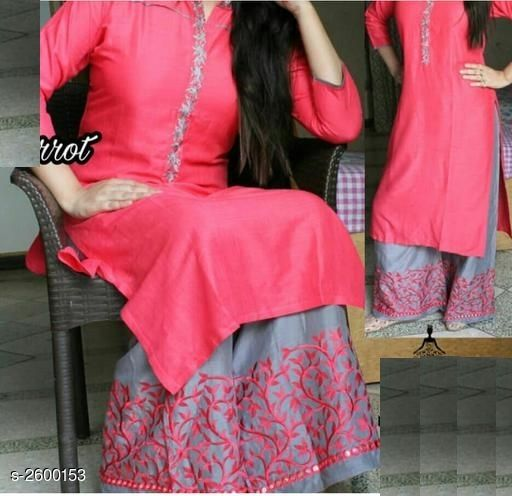 Kurta Sets Attractive Rayon 14 kg Patch Work Kurti  *Fabric* Kurti   *Sleeves* Sleeves Are Included   *Size* Kurti   *Length* Kurti   *Type* Stitched   *Description* It Has 1 Piece Of Women's Kurti With 1 Piece Of Palazzo   *Work* Kurti   *Color * Carrot  *Sizes Available* L, XL, XXL   Supplier Rating: ★3 (8) SKU: GAJRI_S Free shipping is available for this item. Pkt. Weight Range: 500  Catalog Name: Aradhya Attractive Rayon 14 kg Patch Work Kurtis Vol 5 - FLORAL FASHION Code: 067-2600153--