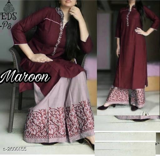 Kurta Sets Attractive Rayon 14 kg Patch Work Kurti  *Fabric* Kurti   *Sleeves* Sleeves Are Included   *Size* Kurti   *Length* Kurti   *Type* Stitched   *Description* It Has 1 Piece Of Women's Kurti With 1 Piece Of Palazzo   *Work* Kurti   *Color * Maroon  *Sizes Available* L, XL, XXL   Supplier Rating: ★3 (8) SKU: MAROON_S Free shipping is available for this item. Pkt. Weight Range: 500  Catalog Name: Aradhya Attractive Rayon 14 kg Patch Work Kurtis Vol 5 - FLORAL FASHION Code: 067-2600155--