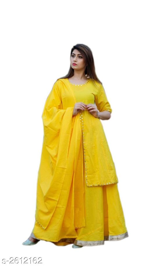 Kurta Sets Trendy Women's Kurti  *Fabric* Kurti - Rayon , Skirt - Rayon, Dupatta - Rayon  *Sleeves* Kurti - Sleeves Are Not Included  *Size* Kurti - M - 38 in, L - 40 in, XL - 42 in, XXL - 44 in, Palazzo - M - 30 in, L - 32 in, XL - 34 in, XXL - 36 in, Dupatta - (2.15 Mtr)  *Length* Kurti  *Type* Stitched  *Description* It Has 1 Piece Of Women's Kurti With 1 Piece Of Skirt & Dupatta  *Work / Pattern* Kurti - Border Work, Skirt - Border Work, Dupatta - Border Work  *Sizes Available* M, L, XL, XXL   SKU: 114 Free shipping is available for this item. Pkt. Weight Range: 500  Catalog Name: Marvel Trendy Women's Kurtis Vol 7 - LVAE Enterprises Code: 049-2612162--