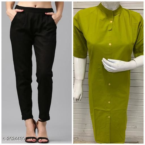 Kurta Sets Fabulous Women's Kurta Set  *Fabric* Kurti - Cotton Flex, Pant - Cotton Flex  *Sleeves* 3/4 Sleeves Are Included  *Size* Kurti - M - 38 in ,L - 40 in, XL - 42 in, XXL - 44 in, Pant - M - 30 in , L - 32 in, XL - 34 in, XXL - 36 in  *Length* Kurti - Up to 44 in, Pant - Up To 39 in  *Type* Stitched  *Description* It Has 1 Piece Of Women's Kurti With 1 Piece Of Pant  *Pattern * Kurti - Solid , Pant - Solid  *Sizes Available* M, L, XL, XXL   Supplier Rating: ★4 (495) SKU: PANT WITH PLAIN KURTI-3 Free shipping is available for this item. Pkt. Weight Range: 600  Catalog Name: Diva Fabulous Women's Kurta Sets Vol 4 - BELIEVE THE INDIAN TREND Code: 965-2624480--626