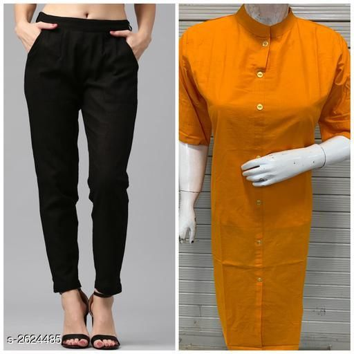 Kurta Sets Fabulous Women's Kurta Set  *Fabric* Kurti - Cotton Flex, Pant - Cotton Flex  *Sleeves* 3/4 Sleeves Are Included  *Size* Kurti - M - 38 in ,L - 40 in, XL - 42 in, XXL - 44 in, Pant - M - 30 in , L - 32 in, XL - 34 in, XXL - 36 in  *Length* Kurti - Up to 44 in, Pant - Up To 39 in  *Type* Stitched  *Description* It Has 1 Piece Of Women's Kurti With 1 Piece Of Pant  *Pattern * Kurti - Solid , Pant - Solid  *Sizes Available* M, L, XL, XXL   Catalog Rating: ★3.3 (6) Supplier Rating: ★3.9 (1922) SKU: PANT WITH PLAIN KURTI-5 Free shipping is available for this item. Pkt. Weight Range: 600  Catalog Name: Diva Fabulous Women's Kurta Sets Vol 4 - BELIEVE THE INDIAN TREND Code: 916-2624485--