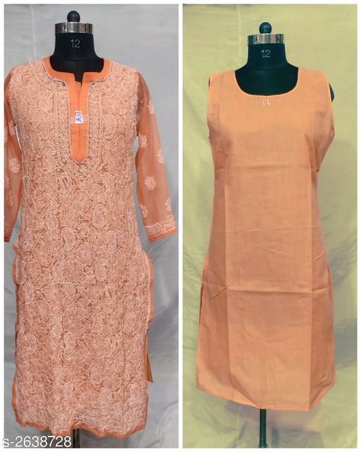 Kurtis & Kurtas  Trendy Chiffon Georgette Womens Kurti  *Fabric* Kurti - Chiffon Georgette , Inner - Cotton  *Sleeves* Sleeves Are Included  *Size* M - 38 in, L - 40 in, XL - 42 in , XXL - 44 in , XXXL - 46 in  *Length* Up To 46 in             *Type* Stitched  *Description* It Has 1 Piece Of Women's Kurti With Inner  *Work* Embroidery  *Sizes Available* L, XL   Supplier Rating: ★4 (341) SKU: TCGWK -7 Shipping charges: Rs1 (Non-refundable) Pkt. Weight Range: 300  Catalog Name: Alisha Trendy Chiffon Georgette Womens Kurtis Vol 2 - Pooja Handicrafts- Code: 5711-2638728--4531