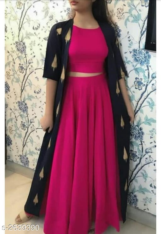 Kurta Sets  Trendy Women's Kurti Set  *Fabric* Kurti - Rayon, Skirt- Rayon & Shrug - Rayon   *Sleeves* Sleeves Are Included   *Size* Kurti & Shrug - S - 36 in, M - 38 in, L - 40 in, XL - 42 in, Skirt- S - 28 in,  M - 30 in, L - 32 in, XL - 34 in   *Length* Kurti - Up to 46  in, Skirt- Up To  40 in   *Type* Stitched   *Description* It Has 1 Piece Of Kurti, 1 Piece Of Skirt, 1 Piece Of Shrug   *Pattern/Work* Kurti - Solid, Skirt- Solid & Shrug - Printed  *Sizes Available* S, M, L, XL   Catalog Rating: ★3.9 (31) Supplier Rating: ★4.1 (276) SKU: 223 Free shipping is available for this item. Pkt. Weight Range: 500  Catalog Name: Comfy Trendy Women's Kurti Sets Vol 18 - NIRVI_CREATIONS Code: 919-2639390--