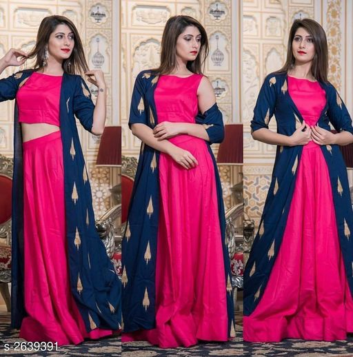 Kurta Sets  Trendy Women's Kurti Set  *Fabric* Kurti - Rayon, Skirt- Rayon & Shrug - Rayon   *Sleeves* Sleeves Are Included   *Size* Kurti & Shrug - S - 36 in, M - 38 in, L - 40 in, XL - 42 in, Skirt- S - 28 in,  M - 30 in, L - 32 in, XL - 34 in   *Length* Kurti - Up to 46  in, Skirt- Up To  40 in   *Type* Stitched   *Description* It Has 1 Piece Of Kurti, 1 Piece Of Skirt, 1 Piece Of Shrug   *Pattern/Work* Kurti - Solid, Skirt- Solid & Shrug - Printed  *Sizes Available* M, L   Catalog Rating: ★3.9 (31) Supplier Rating: ★4.1 (276) SKU: 224 Free shipping is available for this item. Pkt. Weight Range: 500  Catalog Name: Comfy Trendy Women's Kurti Sets Vol 18 - NIRVI_CREATIONS Code: 919-2639391--
