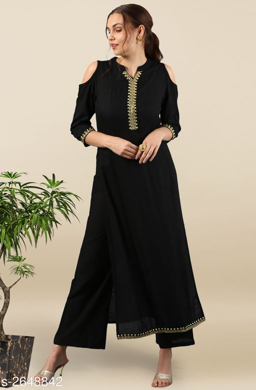 Kurta Sets Trendy Women's Straight Kurta Set   *Fabric* Kurti - Rayon, Palazzo - Cotton  *Sleeves* Sleeves Are Included  *Size* Kurti - S - 36 in, M - 38 in, L - 40 in, XL - 42 in, XXL - 44 in, Palazzo - Up To 28 in To Up To 36 in  *Length* Kurti - Up To 49 in, Palazzo - Up To 41 in  *Type* Stitched  *Description* It Has 1 Piece Of Kurti With Palazzo  *Work* Kurti - Mirror Work, Palazzo - Mirror Work  *Color* Kurti - Black, Palazzo - Black  *Sizes Available* S, M, L   Supplier Rating: ★4 (2208) SKU: SET008-KR-PP Free shipping is available for this item. Pkt. Weight Range: 500  Catalog Name: Janasya Trendy Women's Straight Kurta Set Vol 2 - Janasya Code: 9111-2648842--