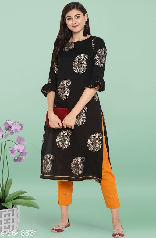 Kurta Sets Trendy Women's Straight Kurta Set   *Fabric* Kurti - Cotton, Pant - Cotton  *Sleeves* Sleeves Are Included  *Size* Kurti - XS - 34 in, S - 36 in, M - 38 in, L - 40 in, XL - 42 in, XXL - 44 in, 3XL - 46 in, Pant - Up To 28 in To Up To 36 in  *Length* Kurti - Up To 46 in, Pant - Up To 38 in  *Type* Stitched  *Description* It Has 1 Piece Of Kurti With Pant  *Work* Kurti - Foil Printed, Pant - Foil Printed  *Color* Kurti - Black, Pant - Yellow  *Sizes Available* XS, S, XXL, XXXL   Supplier Rating: ★4 (2208) SKU: SET053-KR-NP Free shipping is available for this item. Pkt. Weight Range: 500  Catalog Name: Janasya Trendy Women's Straight Kurta Set Vol 2 - Janasya Code: 9111-2648861--