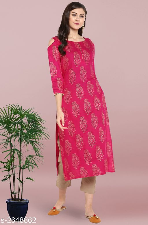 Kurta Sets Trendy Women's Straight Kurta Set   *Fabric* Kurti - Rayon, Pant - Cotton  *Sleeves* Sleeves Are Included  *Size* Kurti - XS - 34 in, S - 36 in, M - 38 in, L - 40 in, XL - 42 in, XXL - 44 in, 3XL - 46 in , Pant - Up To 28 in To Up To 36 in  *Length* Kurti - Up To 46 in, Pant - Up To 37 in  *Type* Stitched  *Description* It Has 1 Piece Of Kurti With Pant  *Work* Kurti - Foil Printed, Pant - Foil Printed  *Color* Kurti - Pink, Pant - Beige  *Sizes Available* XS, L, XL, XXL, XXXL   Supplier Rating: ★4 (2208) SKU: SET055-KR-NP Free shipping is available for this item. Pkt. Weight Range: 500  Catalog Name: Janasya Trendy Women's Straight Kurta Set Vol 2 - Janasya Code: 9111-2648862--