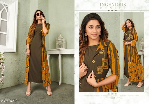 Kurtis & Kurtas Trendy Women's Viscose Long Printed Kurti Trendy Women's Viscose Long Printed Kurti  *Sizes Available* M, L, XL, XXL   Catalog Rating: ★3.8 (19) Supplier Rating: ★4 (1147) SKU: VG-MUSTARD Shipping charges: Rs1 (Non-refundable) Pkt. Weight Range: 300  Catalog Name: Trendy Women's Viscose Long Printed Kurtis - NAVRAJ FASHION Code: 9921-2776212--8631