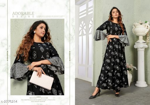 Kurtis & Kurtas Trendy Women's Viscose Long Printed Kurti Trendy Women's Viscose Long Printed Kurti  *Sizes Available* M, L, XL, XXL   Catalog Rating: ★3.8 (19) Supplier Rating: ★4 (1147) SKU: VG-BLACK Shipping charges: Rs1 (Non-refundable) Pkt. Weight Range: 300  Catalog Name: Trendy Women's Viscose Long Printed Kurtis - NAVRAJ FASHION Code: 9921-2776214--8631