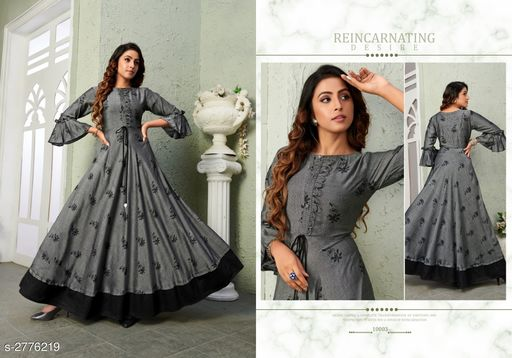 Kurtis & Kurtas Trendy Women's Viscose Long Printed Kurti Trendy Women's Viscose Long Printed Kurti  *Sizes Available* M, L, XL   Catalog Rating: ★3.8 (19) Supplier Rating: ★4 (1147) SKU: VG-GREY Shipping charges: Rs1 (Non-refundable) Pkt. Weight Range: 300  Catalog Name: Trendy Women's Viscose Long Printed Kurtis - NAVRAJ FASHION Code: 9921-2776219--8631