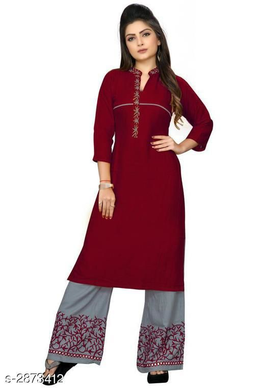 Kurta Sets Trendy Embroidered Rayon 14 Kg Kurta Set  *Fabric* Kurti - Rayon 14 Kg, Palazzo - Rayon 14 Kg  *Sleeves* 3/4 Sleeves Are Included  *Size* Kurti - L - 40 in, XL - 42 in, XXL - 44 in, Palazzo - L - 32 in, XL - 34 in, XXL - 36 in  *Length* Kurti - Up To 42 in, Palazzo - Up To 41 in            *Type* Stitched  *Color* Kurti - Maroon, Palazzo - Grey  *Description* It Has 1 Piece Of Kurti With 1 Piece Of Palazzo  *Work* Kurti - Embroidered, Palazzo - Embroidered  *Sizes Available* L, XL, XXL   Supplier Rating: ★3.4 (299) SKU: MARRON Free shipping is available for this item. Pkt. Weight Range: 500  Catalog Name: Gulabo Attractive Trendy Embroidered Rayon 14 Kg Kurta Sets Vol 1 - Kidozz- Code: 067-2873412--