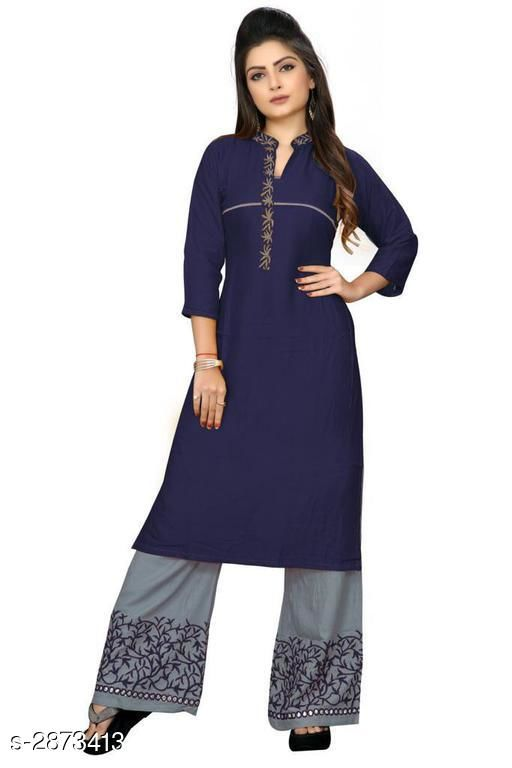 Kurta Sets Trendy Embroidered Rayon 14 Kg Kurta Set  *Fabric* Kurti - Rayon 14 Kg, Palazzo - Rayon 14 Kg  *Sleeves* 3/4 Sleeves Are Included  *Size* Kurti - L - 40 in, XL - 42 in, XXL - 44 in, Palazzo - L - 32 in, XL - 34 in, XXL - 36 in  *Length* Kurti - Up To 42 in, Palazzo - Up To 41 in            *Type* Stitched  *Color* Kurti - Navy Blue, Palazzo - Grey  *Description* It Has 1 Piece Of Kurti With 1 Piece Of Palazzo  *Work* Kurti - Embroidered, Palazzo - Embroidered  *Sizes Available* L, XL, XXL   Supplier Rating: ★3.4 (299) SKU: NEVY_BLUE Free shipping is available for this item. Pkt. Weight Range: 500  Catalog Name: Gulabo Attractive Trendy Embroidered Rayon 14 Kg Kurta Sets Vol 1 - Kidozz- Code: 067-2873413--