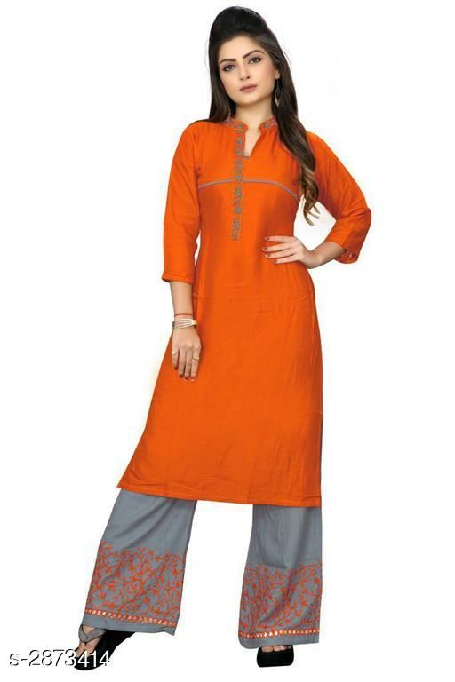 Kurta Sets Trendy Embroidered Rayon 14 Kg Kurta Set  *Fabric* Kurti - Rayon 14 Kg, Palazzo - Rayon 14 Kg  *Sleeves* 3/4 Sleeves Are Included  *Size* Kurti - L - 40 in, XL - 42 in, XXL - 44 in, Palazzo - L - 32 in, XL - 34 in, XXL - 36 in  *Length* Kurti - Up To 42 in, Palazzo - Up To 41 in            *Type* Stitched  *Color* Kurti - Orange, Palazzo - Grey  *Description* It Has 1 Piece Of Kurti With 1 Piece Of Palazzo  *Work* Kurti - Embroidered, Palazzo - Embroidered  *Sizes Available* L, XL, XXL   Supplier Rating: ★3.4 (299) SKU: ORANGE Free shipping is available for this item. Pkt. Weight Range: 500  Catalog Name: Gulabo Attractive Trendy Embroidered Rayon 14 Kg Kurta Sets Vol 1 - Kidozz- Code: 067-2873414--