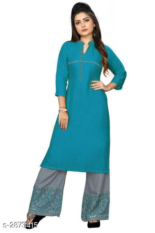 Kurta Sets Trendy Embroidered Rayon 14 Kg Kurta Set  *Fabric* Kurti - Rayon 14 Kg, Palazzo - Rayon 14 Kg  *Sleeves* 3/4 Sleeves Are Included  *Size* Kurti - L - 40 in, XL - 42 in, XXL - 44 in, Palazzo - L - 32 in, XL - 34 in, XXL - 36 in  *Length* Kurti - Up To 42 in, Palazzo - Up To 41 in            *Type* Stitched  *Color* Kurti - Rama, Palazzo - Grey  *Description* It Has 1 Piece Of Kurti With 1 Piece Of Palazzo  *Work* Kurti - Embroidered, Palazzo - Embroidered  *Sizes Available* L, XL, XXL   Supplier Rating: ★3.4 (299) SKU: RAMA Free shipping is available for this item. Pkt. Weight Range: 500  Catalog Name: Gulabo Attractive Trendy Embroidered Rayon 14 Kg Kurta Sets Vol 1 - Kidozz- Code: 067-2873415--