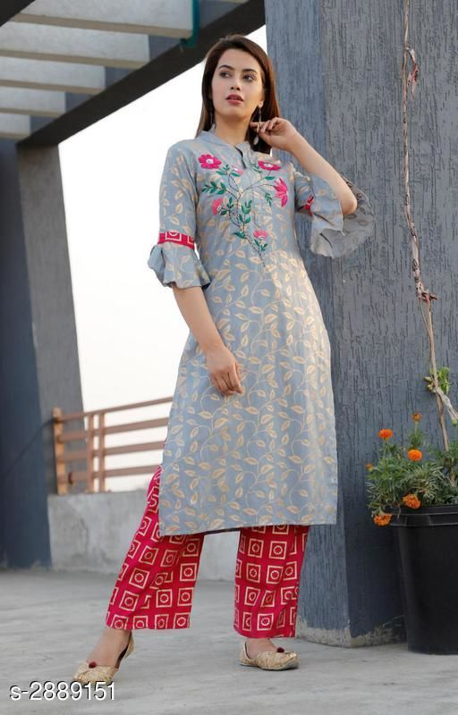 Kurta Sets Elegant Attractive Women's Kurta Set  *Fabric* Kurti - Rayon, Bottom - Rayon  *Sleeves* Sleeves Are Included  *Size* Kurti - M - 38 in, L - 40 in, XL - 42 in, XXL - 44 in, Bottom - M - 30 in, L - 32 in, XL - 34 in, XXL - 36 in  *Length* Kurti - Up To 46 in, Bottom - Up To - 40 in  *Type* Stitched  *Description* It Has 1 Piece Of Kurti With 1 Piece Of Bottom  *Work* Kurti - Embroidered, Bottom - Printed  *Sizes Available* M, L, XL, XXL   SKU: Grey Magenta Kurta Set Free shipping is available for this item. Pkt. Weight Range: 500  Catalog Name: Classy Elegant Attractive Women's Kurta Sets Vol 1 - VISHWAS ETHNIC CENTER Code: 0401-2889151--