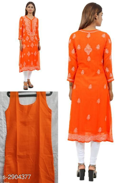 Kurtis & Kurtas Stylish Chiffon Georgette Women's Kurti  *Fabric* Kurti - Chiffon Georgette, Inner - Cotton  *Sleeves* Sleeves Are Included  *Size* Kurti & Inner - S 36 in, M - 38 in, L - 40 in, XL - 42 in, XXL - 44 in  *Length* Up To 44 in  *Type* Stitched  *Description* It Has 1 Piece Of Women's Kurti With Inner    *Work / Pattern* Kurti - Embroidery, Inner - Solid  *Sizes Available* S, M, L, XL, XXL   Supplier Rating: ★4 (342) SKU: SCGWK_1 Shipping charges: Rs1 (Non-refundable) Pkt. Weight Range: 300  Catalog Name: Siya Stylish Chiffon Georgette Women's Kurtis Vol 1 - Pooja Handicrafts- Code: 0521-2904377--7241