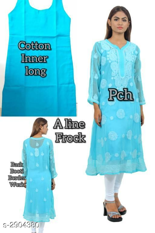 Kurtis & Kurtas Stylish Chiffon Georgette Women's Kurti  *Fabric* Kurti - Chiffon Georgette, Inner - Cotton  *Sleeves* Sleeves Are Included  *Size* Kurti & Inner - S 36 in, M - 38 in, L - 40 in, XL - 42 in, XXL - 44 in  *Length* Up To 44 in  *Type* Stitched  *Description* It Has 1 Piece Of Women's Kurti With Inner    *Work / Pattern* Kurti - Embroidery, Inner - Solid  *Sizes Available* S, M, L, XL, XXL   Supplier Rating: ★4 (342) SKU: SCGWK_4 Shipping charges: Rs1 (Non-refundable) Pkt. Weight Range: 300  Catalog Name: Siya Stylish Chiffon Georgette Women's Kurtis Vol 1 - Pooja Handicrafts- Code: 0521-2904380--7241