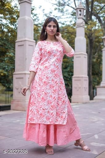 Kurta Sets Designer Kurti Palazzo Set  *Fabric* Kurti - Rayon, Skirt - Cotton  *Sleeves* Sleeves Are Included  *Size* Kurti - S - 38 in, M - 40 in, L - 42 in, XL - 44 in, XXL - 46 in, Skirt - S - 30 in, M - 32 in, L - 34 in, XL - 36 in, XXL - 38 in  *Length* Kurti - Up to 48 in, Skirt - Up to 40 in  *Type* Stitched  *Description* It Has 1 Piece Of Kurti & 1 Piece Of Skirt  *Work / Pattern* Kurti - Printed, Skirt - Solid  *Sizes Available* S, M, L, XL, XXL   Supplier Rating: ★3.8 (60) SKU: 1145 Free shipping is available for this item. Pkt. Weight Range: 500  Catalog Name: Avasika Designer Kurti Palazzo Sets Vol 6 - Bless Fashion Code: 9601-2927238--