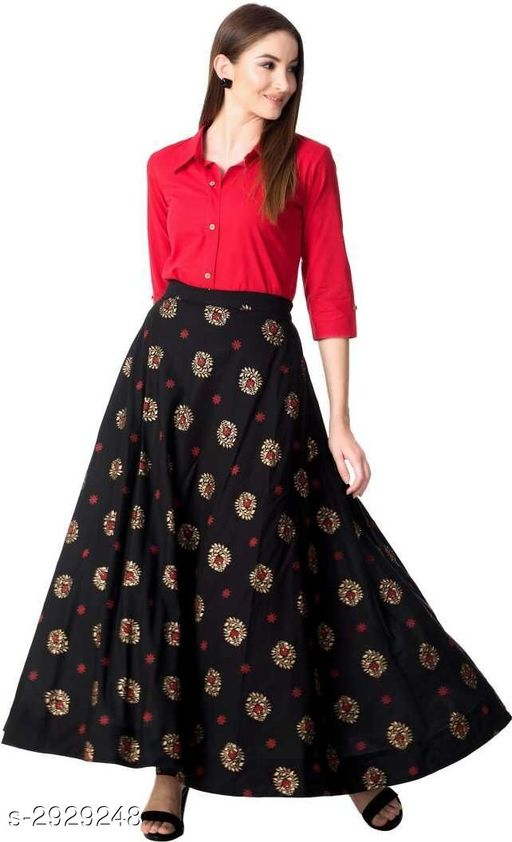 Kurta Sets Elegant Attractive Women's Kurta Set  *Fabric* Kurti - Rayon, Skirt - Rayon  *Sleeves* Sleeves Are Included  *Size* Kurti - M - 40 in, L - 42 in, XL - 44 in, XXL - 46 in, Skirt - M - 32 in, L - 34 in, XL - 36 in, XXL - 38  *Length* Kurti - Up To 44 in, Skirt - Up To 39 in  *Type* Stitched  *Color* Kurti - Red, Skirt - Black  *Description* It Has 1 Piece Of Kurti With 1 Piece Of Skirt  *Work / Pattern* Kurti - Solid, Skirt - Printed  *Sizes Available* M, L, XL, XXL   Catalog Rating: ★3.8 (4) Supplier Rating: ★4.1 (6209) SKU: winklahangablack Free shipping is available for this item. Pkt. Weight Range: 500  Catalog Name: Nivyasa Elegant Attractive Women's Kurta Sets Vol 3 - STYMPL Code: 978-2929248--