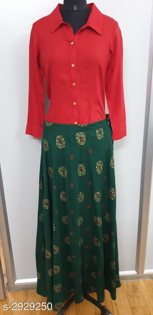 Kurta Sets Elegant Attractive Women's Kurta Set  *Fabric* Kurti - Cotton, Skirt - Cotton  *Sleeves* Sleeves Are Included  *Size* Kurti - M - 40 in, L - 42 in, XL - 44 in, XXL - 46 in, Skirt - M - 32 in, L - 34 in, XL - 36 in, XXL - 38  *Length* Kurti - Up To 44 in, Skirt - Up To 39 in  *Type* Stitched  *Color* Kurti - Red, Skirt - Green  *Description* It Has 1 Piece Of Kurti With 1 Piece Of Skirt  *Work / Pattern* Kurti - Solid, Skirt - Printed  *Sizes Available* M, L, XL, XXL   Catalog Rating: ★3.8 (4) Supplier Rating: ★4.1 (6209) SKU: winklahangagreen Free shipping is available for this item. Pkt. Weight Range: 500  Catalog Name: Nivyasa Elegant Attractive Women's Kurta Sets Vol 3 - STYMPL Code: 978-2929250--